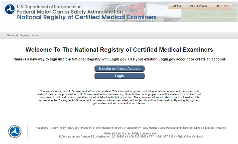 DOT Medical Examiner Login Screen